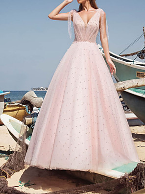 cheap Evening Dresses-A-Line Wedding Dresses V Neck Sweep / Brush Train Tulle Sleeveless Country Sexy Wedding Dress in Color with Beading 2020