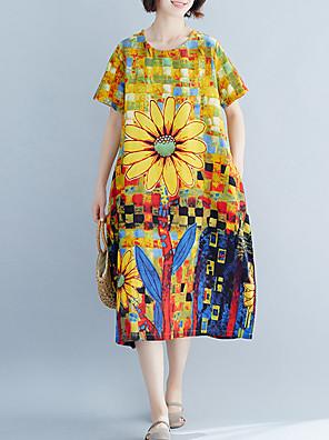 cheap Women's Dresses-Women's A Line Dress - Short Sleeves Print Patchwork Spring Summer Vintage Mumu Daily Weekend Loose Linen Yellow One-Size