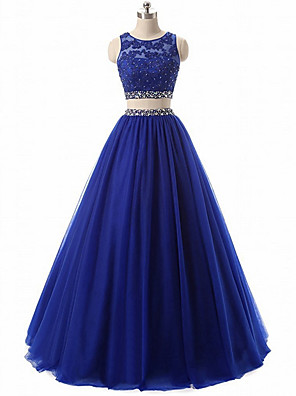cheap Prom Dresses-Two Piece Sparkle Blue Engagement Prom Dress Jewel Neck Sleeveless Floor Length Chiffon with Pleats Crystals 2020