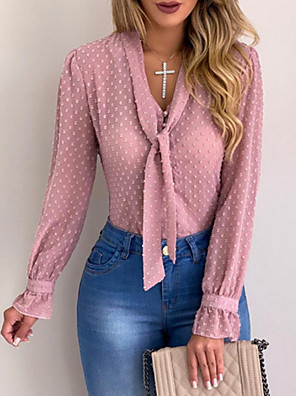 cheap Women's Blouses & Shirts-Women's Daily Plus Size Shirt Solid Colored Rivet Long Sleeve Tops Basic V Neck White Black Blushing Pink