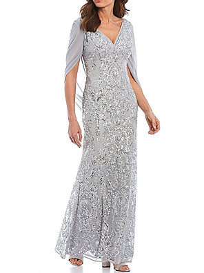 cheap Mother of the Bride Dresses-Sheath / Column Mother of the Bride Dress Elegant Sparkle & Shine V Neck Floor Length Chiffon Lace Half Sleeve with Sequin 2020