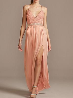 cheap Evening Dresses-Sheath / Column Beautiful Back Boho Holiday Prom Dress Spaghetti Strap Sleeveless Floor Length Chiffon with Sash / Ribbon Pleats Split 2020