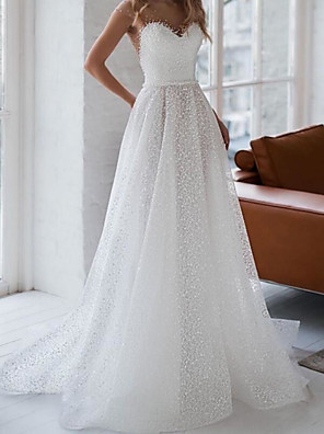 cheap Wedding Dresses-A-Line Wedding Dresses Jewel Neck Sweep / Brush Train Tulle Sleeveless Sexy See-Through Backless with Side-Draped 2020