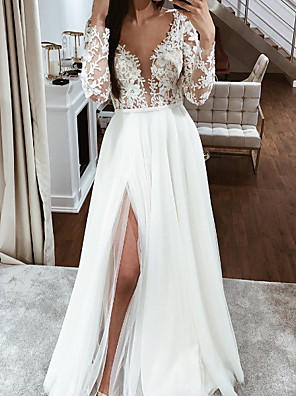 cheap Wedding Dresses-A-Line Wedding Dresses V Neck Floor Length Lace Chiffon Over Satin Long Sleeve Boho Sexy See-Through with Embroidery Split Front 2020