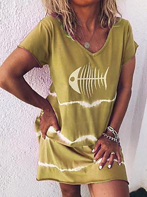 cheap Casual Dresses-Women's A Line Dress - Short Sleeves Print Summer Casual Street chic 2020 Purple Red Yellow Light Green Light Blue S M L XL XXL XXXL XXXXL XXXXXL