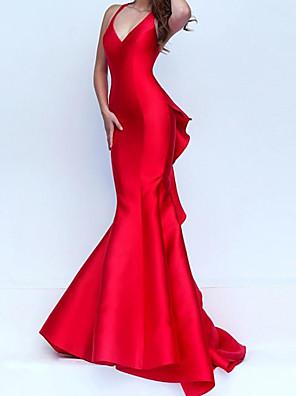 cheap Evening Dresses-Mermaid / Trumpet Elegant Red Engagement Formal Evening Dress V Neck Sleeveless Sweep / Brush Train Satin with Ruffles 2020