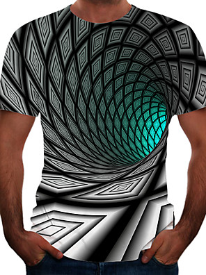 cheap Men's Tees & Tank Tops-Men's Daily T-shirt Graphic 3D Print Short Sleeve Tops Basic Elegant Round Neck Green