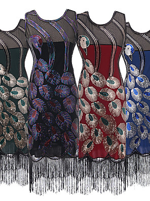 cheap Historical & Vintage Costumes-The Great Gatsby Vintage 1920s Summer Dress Masquerade Women's Tassel Fringe Beads Costume Red / Green / Blue Vintage Cosplay Party Party Evening Sleeveless