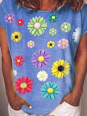 cheap Women's T-shirts-Women's T-shirt Floral Loose Tops Blue Yellow Green / Short Sleeve