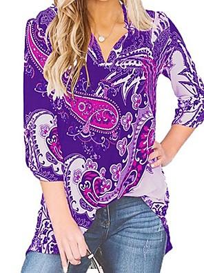 cheap Women's Blouses & Shirts-Women's Blouse Floral Tops V Neck Black Purple Army Green / Long Sleeve