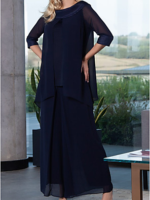 cheap Mother of the Bride Dresses-Sheath / Column Mother of the Bride Dress Elegant Jewel Neck Floor Length Chiffon 3/4 Length Sleeve with Pleats Split Front 2020