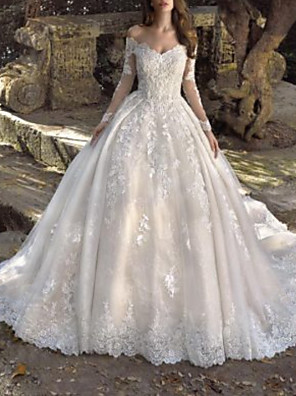 cheap Wedding Dresses-Ball Gown Wedding Dresses Off Shoulder Sweep / Brush Train Lace Tulle Long Sleeve Formal Sexy Illusion Sleeve with Embroidery 2020