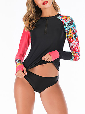 cheap Wetsuits, Diving Suits & Rash Guard Shirts-Women's Two Piece Swimsuit Swimwear Breathable Quick Dry Long Sleeve 2-Piece Front Zip - Swimming Water Sports 3D Print Summer / Stretchy
