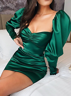 cheap Evening Dresses-Sheath / Column Hot Homecoming Cocktail Party Dress Scoop Neck Long Sleeve Short / Mini Satin with Ruched 2020