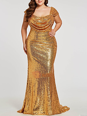 cheap Evening Dresses-Mermaid / Trumpet Sparkle Plus Size Party Wear Formal Evening Dress Scoop Neck Short Sleeve Sweep / Brush Train Sequined with Ruched 2020