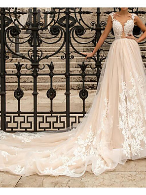 cheap Wedding Dresses-A-Line Wedding Dresses Scoop Neck Chapel Train Lace Tulle Sleeveless Sexy See-Through with Embroidery Appliques 2020