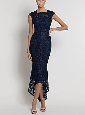 cheap Cocktail Dresses-Mermaid / Trumpet Jewel Neck Asymmetrical Lace Bridesmaid Dress with Lace / Appliques