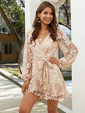 cheap Cocktail Dresses-A-Line Elegant Boho Party Wear Cocktail Party Dress V Neck Long Sleeve Short / Mini Lace with Sash / Ribbon Ruffles 2020