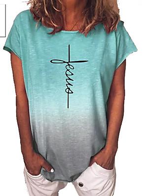 cheap Plus Size Swimwear-Women's T-shirt Color Gradient Letter Short Sleeve Tops Blue Purple Yellow