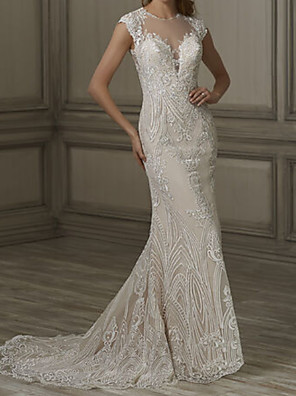 cheap Wedding Dresses-Mermaid / Trumpet Wedding Dresses Jewel Neck Court Train Lace Tulle Cap Sleeve Sexy See-Through with Embroidery Appliques 2020