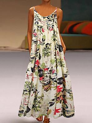 cheap Maxi Dresses-Women's A Line Dress - Sleeveless Floral Summer Casual 2020 Red Yellow M L XL XXL XXXL XXXXL XXXXXL