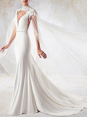 cheap Evening Dresses-Mermaid / Trumpet Wedding Dresses V Neck Sweep / Brush Train Lace Tulle Stretch Satin Sleeveless Simple Sexy Backless Cape with Sashes / Ribbons 2020 / Yes