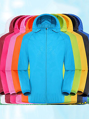 cheap Women's Hiking Jackets-Women's Men's Hiking Jacket Hiking Skin Jacket Hiking Windbreaker Summer Outdoor Solid Color Waterproof Sunscreen UV Resistant Anti-Mosquito Jacket Hoodie Top Single Slider Hunting Fishing Running