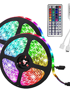 cheap Girls' Dresses-LED Strip Light (2*5M)10M/32.8ft 3528 RGB 600leds 8mm Strips Lighting Flexible Color Changing with 44 Key IR Remote Ideal for Home Kitchen Christmas TV Back Lights DC 12V