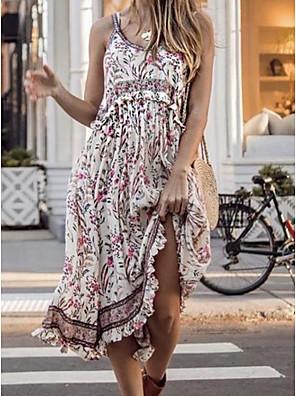 cheap Summer Dresses-Women's Strap Dress Midi Dress - Sleeveless Print Summer Casual Boho 2020 Blue Yellow Fuchsia Khaki Green S M L XL XXL XXXL XXXXL XXXXXL
