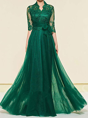 cheap Prom Dresses-A-Line Mother of the Bride Dress Elegant High Neck Floor Length Chiffon Lace Half Sleeve with Lace Pleats Appliques 2020 / Illusion Sleeve