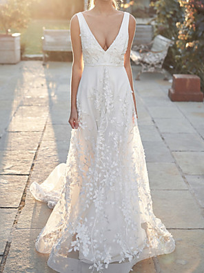 cheap Wedding Dresses-A-Line Wedding Dresses V Neck Court Train Tulle Sleeveless Country Wedding Dress in Color with Appliques 2020