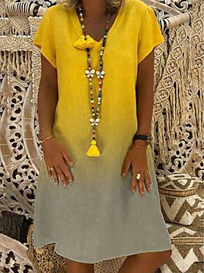 cheap Mini Dresses-Women's Shift Dress Knee Length Dress - Short Sleeve Color Gradient Summer V Neck Casual 2020 Black Red Yellow Navy Blue Gray Light Blue S M L XL XXL XXXL