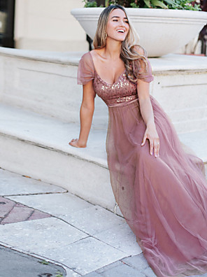 cheap Prom Dresses-A-Line Elegant Wedding Guest Engagement Prom Dress Spaghetti Strap Short Sleeve Floor Length Tulle with Sequin 2020