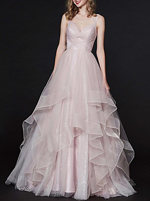 cheap Evening Dresses-Ball Gown Elegant Pink Engagement Formal Evening Dress Spaghetti Strap Sleeveless Sweep / Brush Train Tulle with Pleats Tier 2020