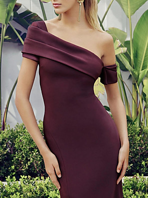cheap Evening Dresses-Mermaid / Trumpet Elegant Reformation Amante Party Wear Cocktail Party Dress One Shoulder Short Sleeve Knee Length Nylon with Split 2020