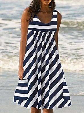 cheap Casual Dresses-Women's A Line Dress - Sleeveless Striped Summer Street chic 2020 Wine Black Green Navy Blue Gray S M L XL XXL