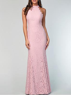cheap Prom Dresses-Sheath / Column Jewel Neck Floor Length Lace Bridesmaid Dress with Lace / Appliques
