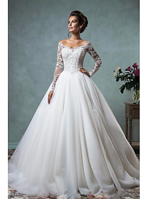 cheap Wedding Dresses-A-Line Wedding Dresses Off Shoulder Court Train Lace Tulle Long Sleeve Formal See-Through with Embroidery 2020