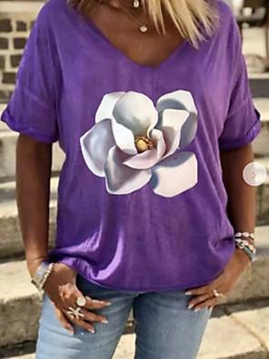 cheap Women's T-shirts-Women's T-shirt Floral V Neck Tops Summer Purple