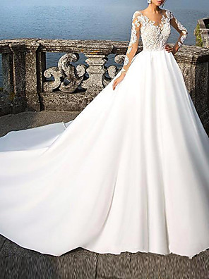 cheap Wedding Dresses-A-Line Wedding Dresses V Neck Court Train Lace Long Sleeve Casual Beach Illusion Sleeve with 2020
