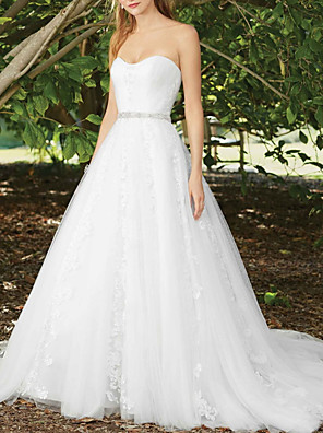 cheap Prom Dresses-A-Line Wedding Dresses Sweetheart Neckline Court Train Lace Sleeveless Sexy Wedding Dress in Color with Appliques 2020