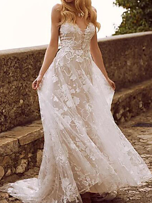 cheap Wedding Dresses-A-Line Wedding Dresses V Neck Sweep / Brush Train Lace Tulle Sleeveless Country Sexy See-Through with Appliques 2020