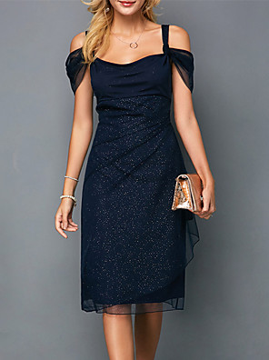 cheap Romantic Lace Dresses-Women's Sheath Dress - Short Sleeve Solid Colored Sequins Spring & Summer Strap Elegant Sophisticated 2020 Blue S M L XL XXL XXXL XXXXL / Cotton