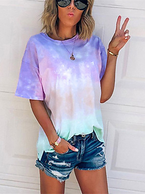 cheap Women's T-shirts-Women's Daily Plus Size T-shirt Color Block Tie Dye Print Short Sleeve Tops Basic Streetwear Blue Purple Blushing Pink / Going out