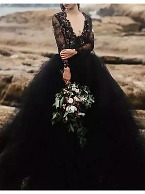 cheap Wedding Dresses-A-Line Wedding Dresses Plunging Neck Sweep / Brush Train Polyester Long Sleeve Country Plus Size Black with Lace Insert Appliques 2020