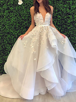 cheap Wedding Dresses-Ball Gown Wedding Dresses V Neck Spaghetti Strap Sweep / Brush Train Lace Organza Sleeveless Formal with Appliques Cascading Ruffles 2020