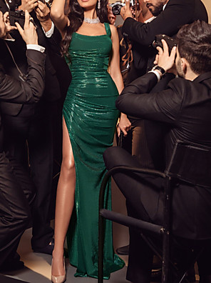 cheap Evening Dresses-Sheath / Column Elegant Green Party Wear Formal Evening Dress Scoop Neck Sleeveless Floor Length Sequined with Ruched Sequin Split 2020