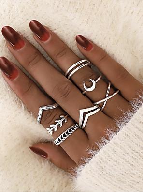 povoljno Kvarcni satovi-Žene Obilježja prstena Midi prstenje 7pcs 1set Srebro Legura Jednostavan Europska pomodan Spoj Ulica Jewelry Leaf Shape