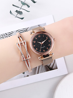 cheap Quartz Watches-Women's Steel Band Watches Quartz Elegant Chronograph Stainless Steel Black / Rose Gold Analog - Rose Gold Black One Year Battery Life