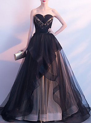 cheap Wedding Dresses-Ball Gown Elegant Black Wedding Guest Formal Evening Dress Strapless Sleeveless Court Train Organza with Tier 2020